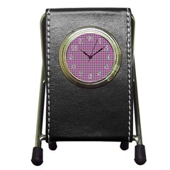 Pattern Grid Background Pen Holder Desk Clocks