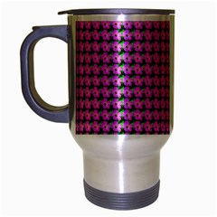 Pattern Grid Background Travel Mug (Silver Gray)