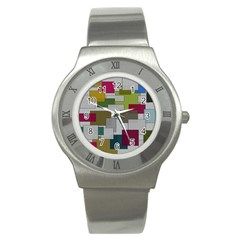 Decor Painting Design Texture Stainless Steel Watch
