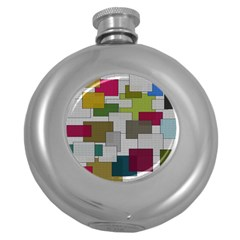 Decor Painting Design Texture Round Hip Flask (5 Oz)