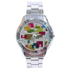Decor Painting Design Texture Stainless Steel Analogue Watch