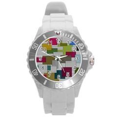 Decor Painting Design Texture Round Plastic Sport Watch (l)