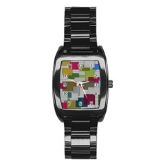 Decor Painting Design Texture Stainless Steel Barrel Watch