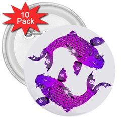 Koi Carp Fish Water Japanese Pond 3  Buttons (10 pack)