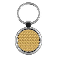 Wood Illustrator Yellow Brown Key Chains (round)