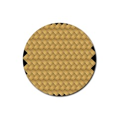 Wood Illustrator Yellow Brown Rubber Round Coaster (4 pack)