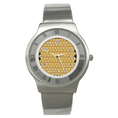 Wood Illustrator Yellow Brown Stainless Steel Watch