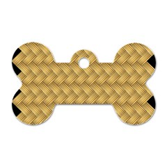 Wood Illustrator Yellow Brown Dog Tag Bone (two Sides)