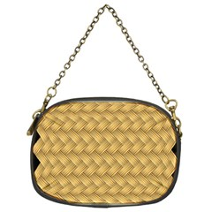 Wood Illustrator Yellow Brown Chain Purses (one Side)