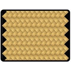 Wood Illustrator Yellow Brown Fleece Blanket (Large)