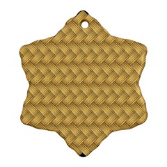 Wood Illustrator Yellow Brown Snowflake Ornament (Two Sides)