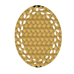 Wood Illustrator Yellow Brown Oval Filigree Ornament (two Sides)