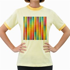 Background Colorful Abstract Women s Fitted Ringer T-Shirts