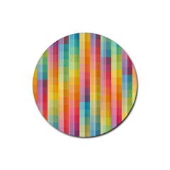 Background Colorful Abstract Rubber Round Coaster (4 Pack)