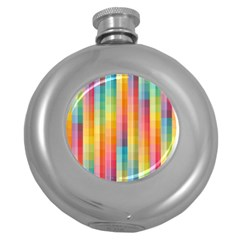 Background Colorful Abstract Round Hip Flask (5 oz)