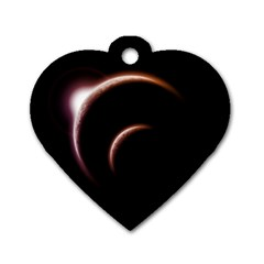 Planet Space Abstract Dog Tag Heart (Two Sides)
