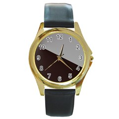 Course Gradient Color Pattern Round Gold Metal Watch