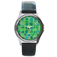 Green Abstract Geometric Round Metal Watch