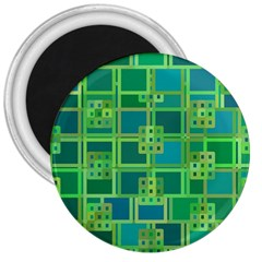 Green Abstract Geometric 3  Magnets