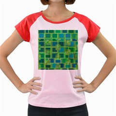 Green Abstract Geometric Women s Cap Sleeve T-Shirt