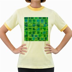 Green Abstract Geometric Women s Fitted Ringer T-Shirts