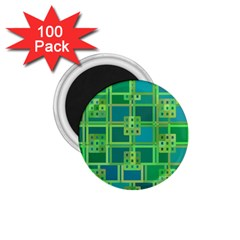 Green Abstract Geometric 1.75  Magnets (100 pack)