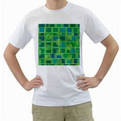 Green Abstract Geometric Men s T Shirt (white) (two Sided)