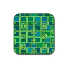 Green Abstract Geometric Rubber Square Coaster (4 pack)