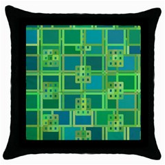 Green Abstract Geometric Throw Pillow Case (Black)