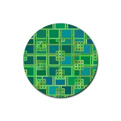 Green Abstract Geometric Rubber Round Coaster (4 pack)
