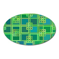 Green Abstract Geometric Oval Magnet