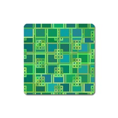 Green Abstract Geometric Square Magnet