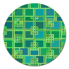 Green Abstract Geometric Magnet 5  (round)