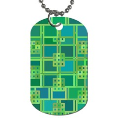 Green Abstract Geometric Dog Tag (Two Sides)