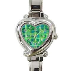 Green Abstract Geometric Heart Italian Charm Watch