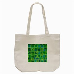 Green Abstract Geometric Tote Bag (cream)