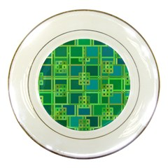 Green Abstract Geometric Porcelain Plates