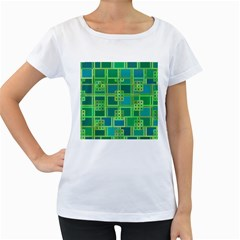 Green Abstract Geometric Women s Loose Fit T Shirt (white)