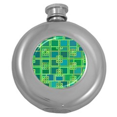 Green Abstract Geometric Round Hip Flask (5 Oz)