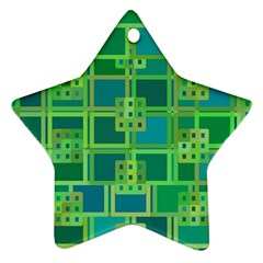 Green Abstract Geometric Star Ornament (Two Sides)