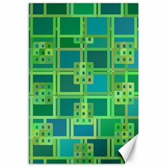 Green Abstract Geometric Canvas 12  X 18