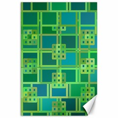 Green Abstract Geometric Canvas 24  x 36