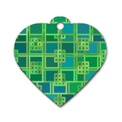 Green Abstract Geometric Dog Tag Heart (Two Sides)