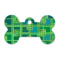 Green Abstract Geometric Dog Tag Bone (two Sides)
