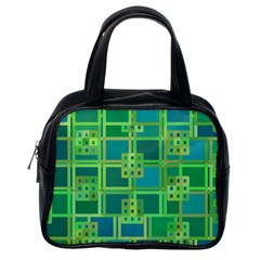 Green Abstract Geometric Classic Handbags (one Side)