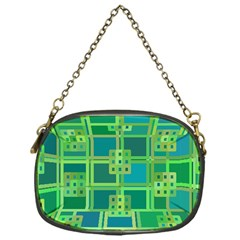 Green Abstract Geometric Chain Purses (One Side)