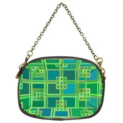 Green Abstract Geometric Chain Purses (two Sides)