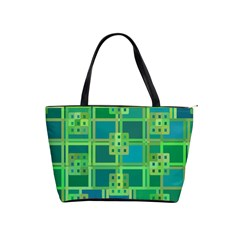 Green Abstract Geometric Shoulder Handbags