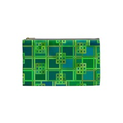 Green Abstract Geometric Cosmetic Bag (Small)