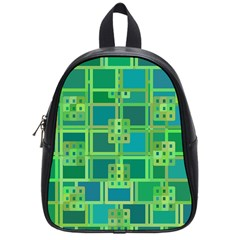 Green Abstract Geometric School Bags (Small)